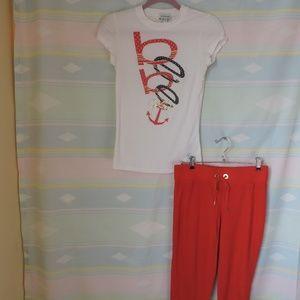 Matching Bebe outfit nautical design capri pants